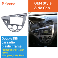 Seicane Silver Double Din Car Radio Frame DVD Player Fascia Dash Mount Kit for 2006 Ford Fiesta Focus European LHD