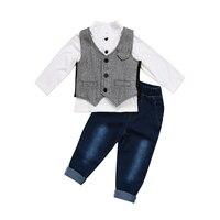 Moda Dos Meninos Roupa Do Bebê Da Criança Set Cavalheiro 2017 Nova Formal Terno Colete Calças Jeans Tuxedo Partido Outfits Set