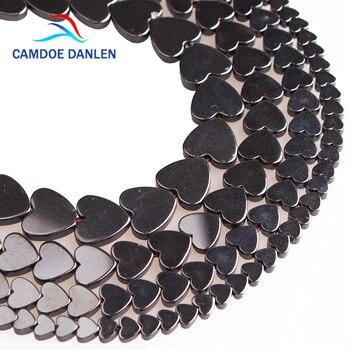 63bcdf937c87 CAMDOE DANLEN Piedra Natural corazón negro hematita granos flojos 6 8 10mm  DIY hacer joyería piezas y accesorios venta al por mayor
