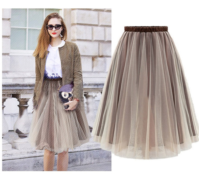 aa451bf203 Ball Gown Knee-Length Skirts Organza Skirts Womens 2016 Spring Summer  Delicate Brown Knee Length