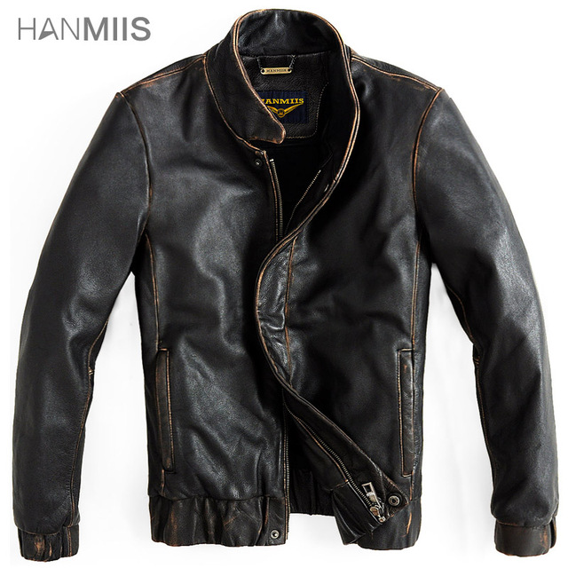 Hanmiis handmade first layer of cowhide leather motorcycle jacket male slim genuine men's clothing outerwear with leather gloves