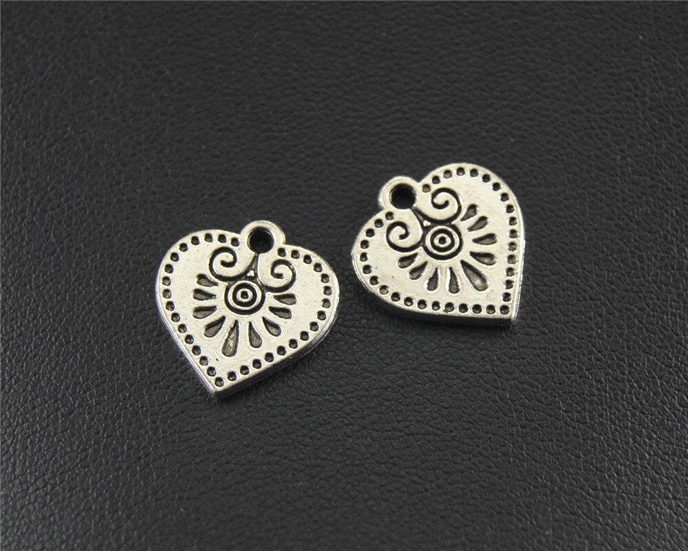 ᗖ10 шт. античные серебряные подвески-шармы в форме сердца ...