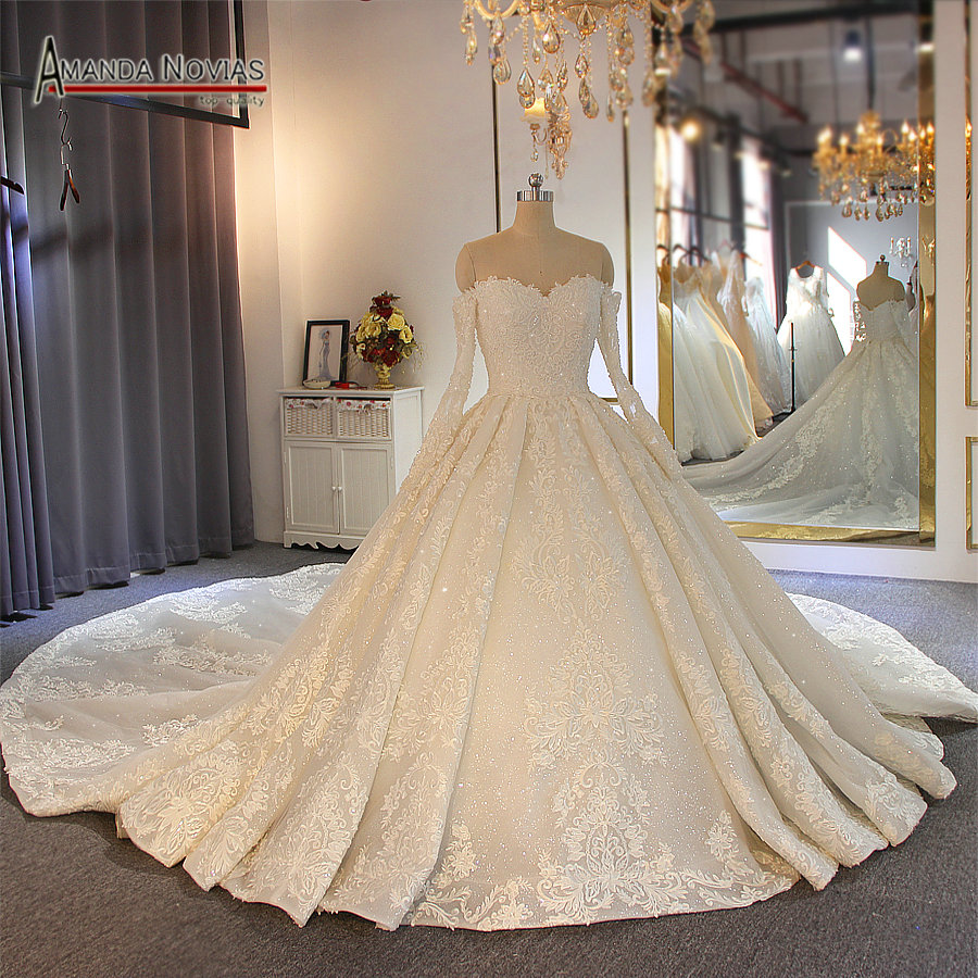 Off the shoulder long sleeves full lace beading wedding gown bridal gown 2019