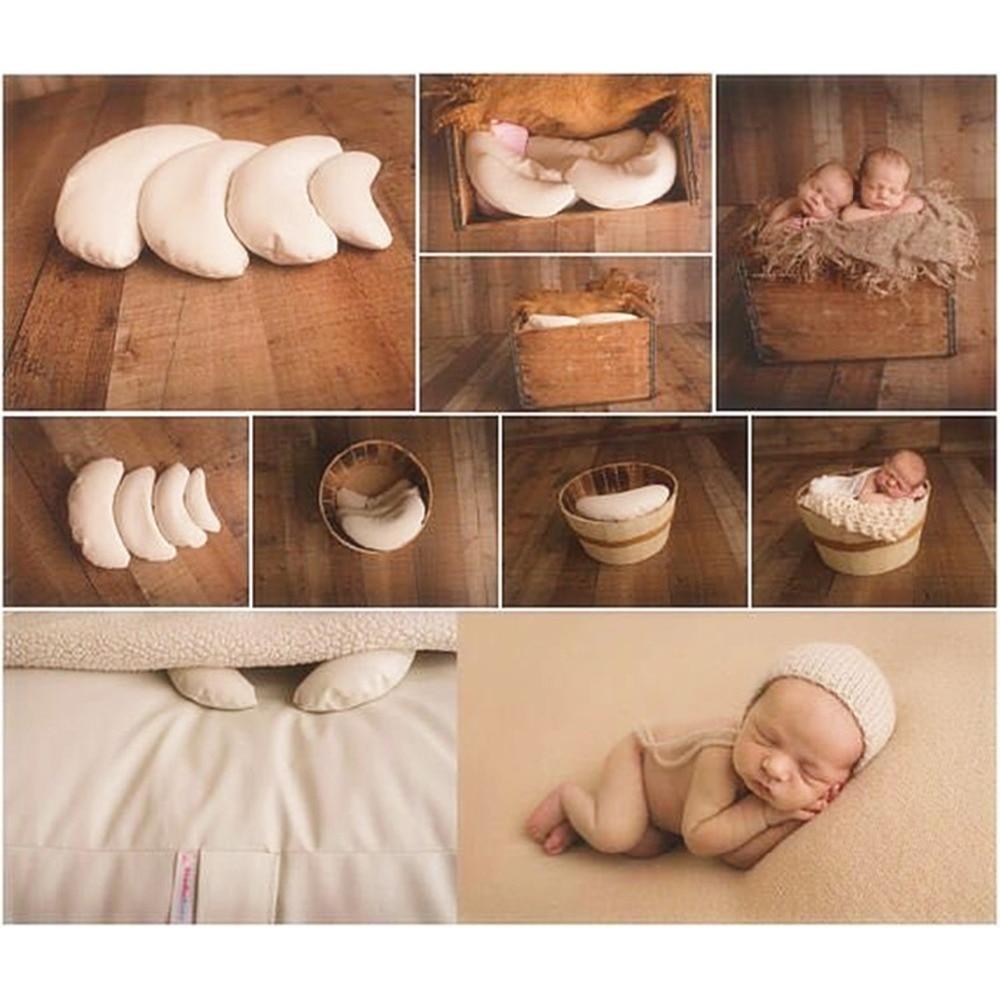 3 unids/set bebé de cuero de la PU de la fotografía del traje Luna posando Props bebé almohadas recién nacido fotografía apoyos de fotografía de relleno de cesta Fotografia