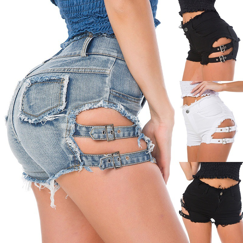 Decorative Open-Fork Metal Mini Sexy America Denim Hot And Explosion-Models Tight-Side