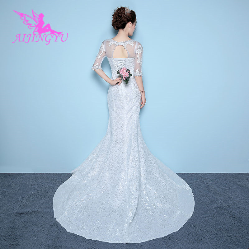 AIJINGYU 2018 V Neck Free Shipping New Hot Selling Cheap Ball Gown Lace Up Back Formal Bride Dresses Wedding Dress WK410