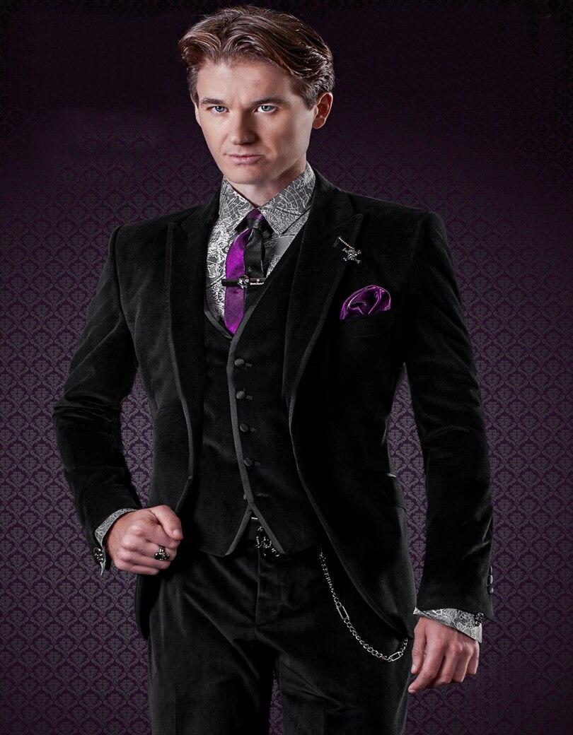 Latest Coat Pant Designs Italian Black Velvet Men Suit Slim Fit 3 Piece Tuxedo Custom Suits Groom Prom Blazer Terno Masuclino X2