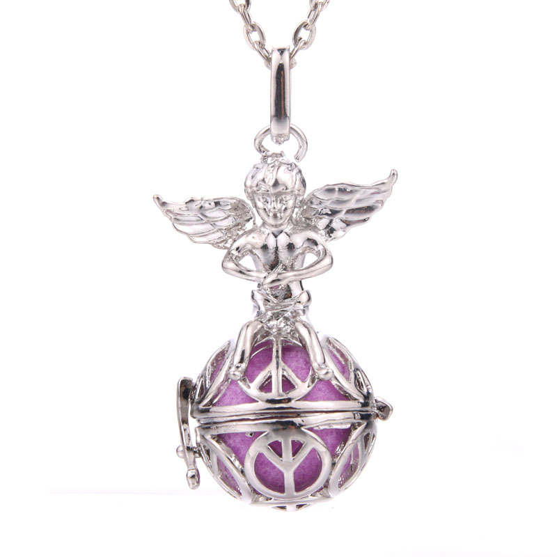 Angel Aromatherapy Necklace Pendant Jewelry Multicolor Open Locket Necklace Essential Oil Diffuser Perfume Scent Aroma Necklaces in Pendants from Jewelry Accessories