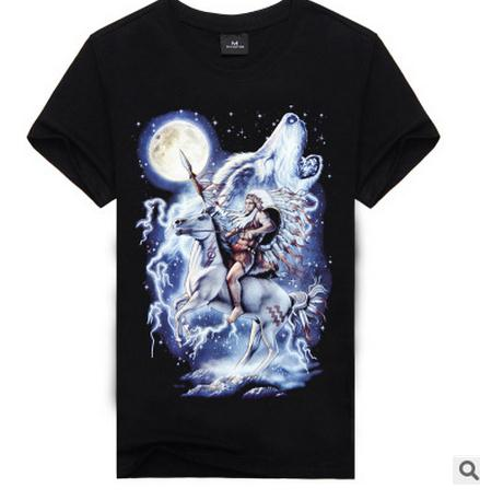 yue yue clothes store Men Short Sleevs Printing 3D Printing Cotton Tshirts Casual Plus Size Round Neck Short Sleeves Tops And Tees Tshirt Homme J1501