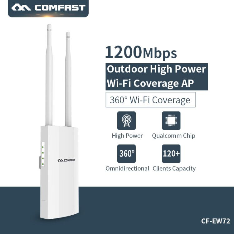 Comfast double bande 5 Ghz haute puissance extérieure AP 1200 Mbps CF-EW72 360 degrés couverture omnidirectionnelle Point d'accès Wifi Base Station