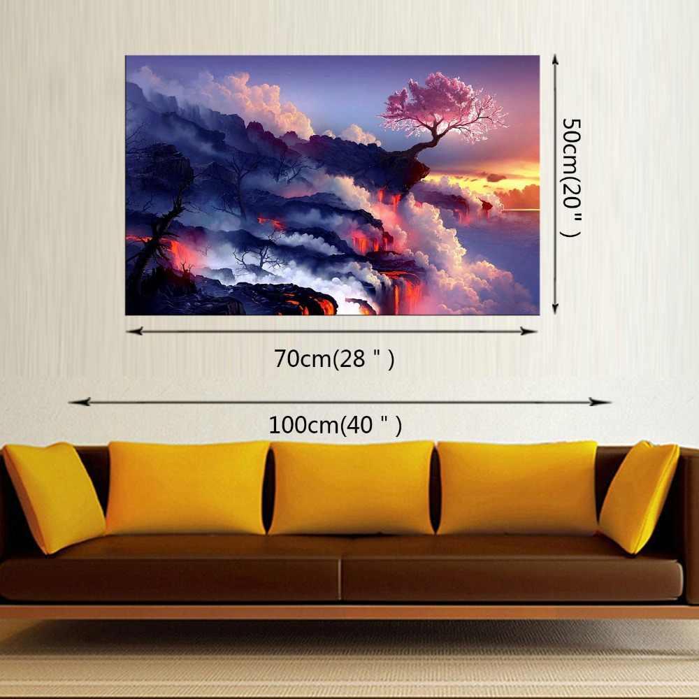 1 Panel salon home decor Wall Art Picture chmury górskie ogień kwitnienia wiśniowe drzewo krajobraz Malarstwo na Płótnie Oprawione