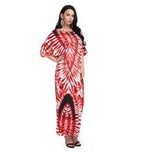 c7e175c4188105 Vrouwen Maxi Jurk Lente Zomer Plus size Casual Losse Strand Half Mouwen  Print Lange Fashion Jurken Dames Vestidos