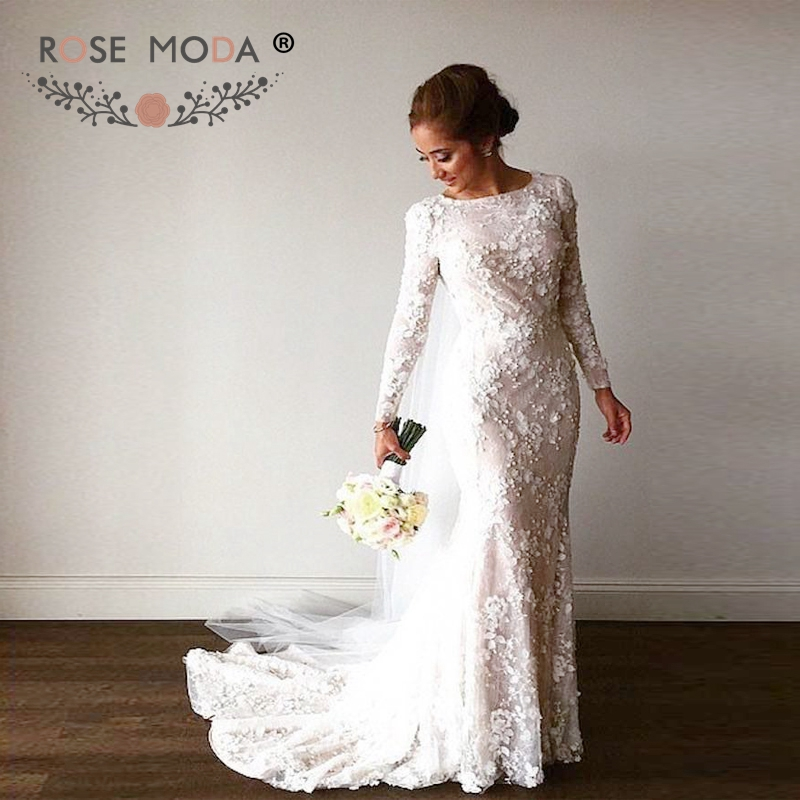 Buy modest long sleeves 3d lace mermaid for Long sleeve lace wedding dresses