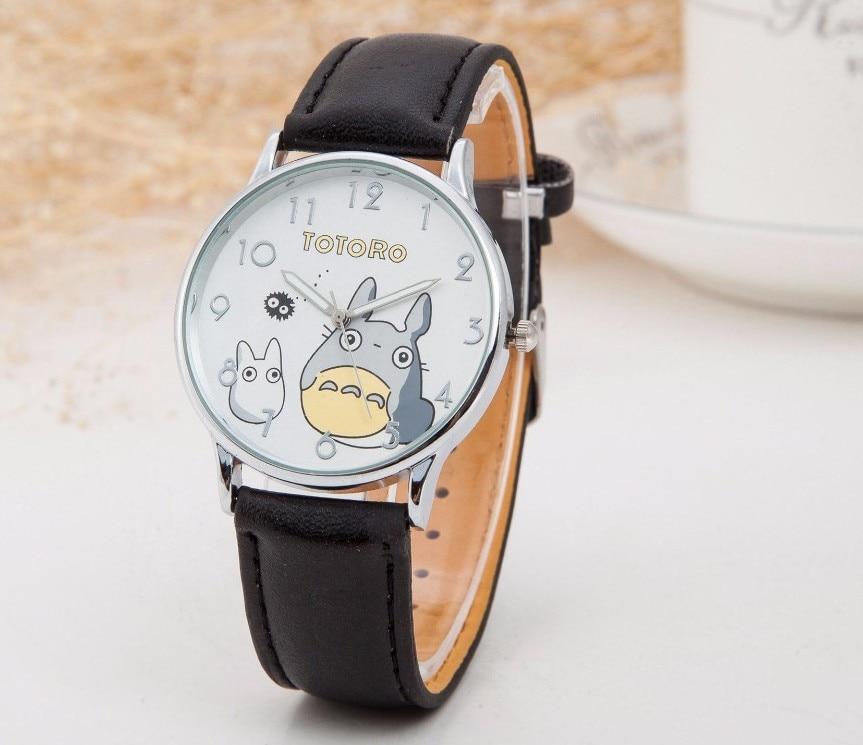 Bonito totoro padrão dos desenhos animados relógios moda feminina pulseira de couro do plutônio relógio de quartzo marca de luxo senhoras relógio de pulso relojes