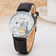 Cute Totoro Pattern Cartoon Watches Women Fashion PU Leather Strap Quartz