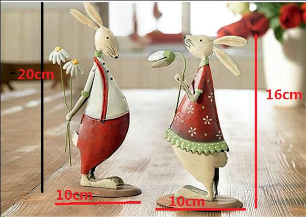2pcs,High-21cm,Metal fashion rabbit/chicken home decoration.birthday gift married,baby room Desktop ornaments