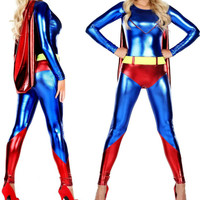 2018 New High Quality Adult Womens Halloween Red Superman Cosplay Costumes leather SuperHero Costume Full Body Suit