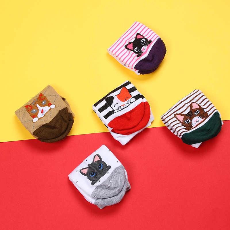 Mujeres calcetines pequeños animales dibujos animados Color caramelo calcetines de barco transpirables Casual señoras lindo divertido calcetín corto verano