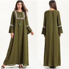 Women Muslim Dress 2019 TOP Loose Maxi Embroidery Abaya Jilbab Kaftan