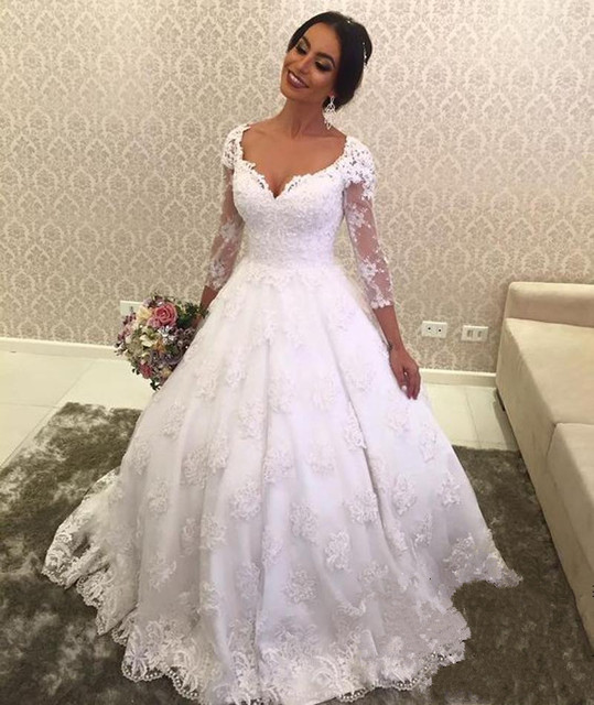 7f92039d74 US $162.75 7% OFF|African Nigerian Lace Wedding Dresses Long Sleeves  Vintage Country Puffy Ball Gown Vestido De Novia Plus Size 2019 Bridal  Gowns -in ...