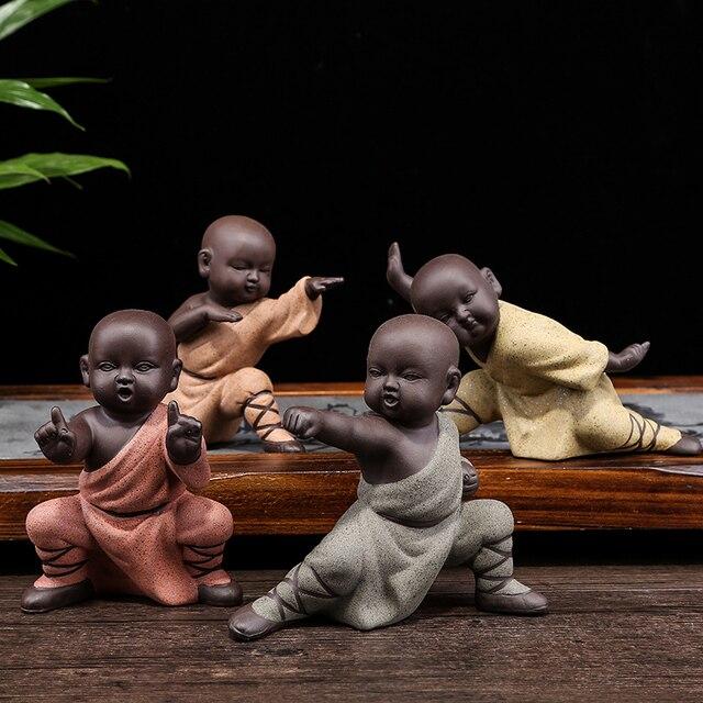 2017 kung fu monk purple sand monks figurine sculpture ceramics crafts child monk desktop home. Black Bedroom Furniture Sets. Home Design Ideas