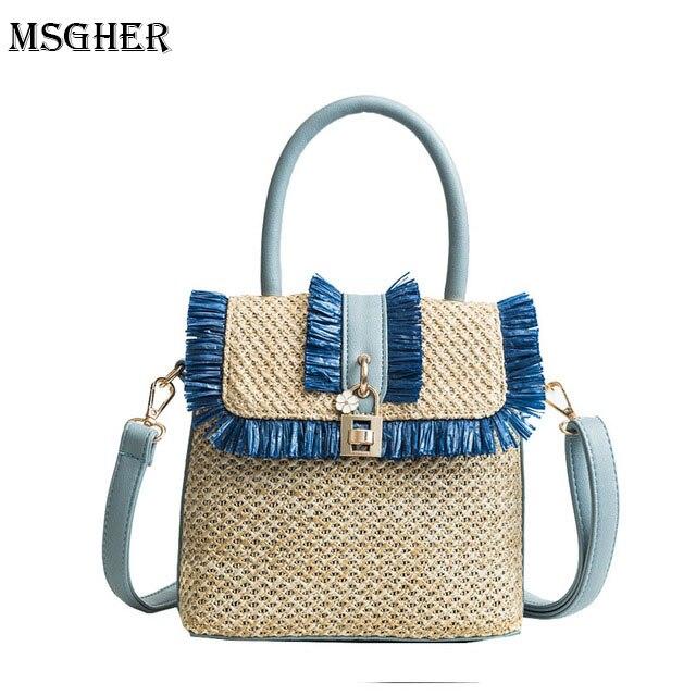 M.S Women Straw Bag Bohemian Tassel Beach Handbag Small Flower Lock Bags Lady Vintage Crossbody Handmade Kintted Shoulder Bags