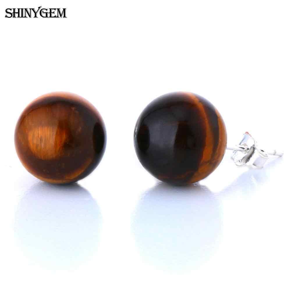 ShinyGem 8 มม./10 มม. 925 เงินสเตอร์ลิงต่างหูคริสตัลสีชมพู Tiger Eye อเมทิสต์อัญมณีธรรมชาติหินต่างหูผู้หญิง