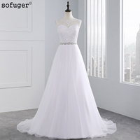 2015 Vestido De Noiva High Fashion A Line Beading Sash Wedding Dresses Sheer Neck Lace Appliques