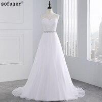 2015 Vestido De Noiva High Fashion A Line Beading Sash Wedding Dresses Sheer Neck Lace Appliques
