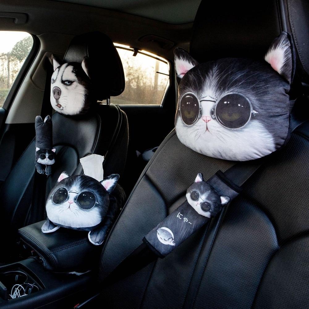 NEW Cool Lovely 3D Printed Animals Face Car Headrest Pillowcase Neck Rest Auto Safety Headrest Supplies Universal Car Pillow