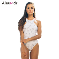 Aleumdr 2019 Swimwear Women White One piece Floral Printing Swimsuit Sexy Monokini Summer Hot Bathing suit Beach wear LC411639