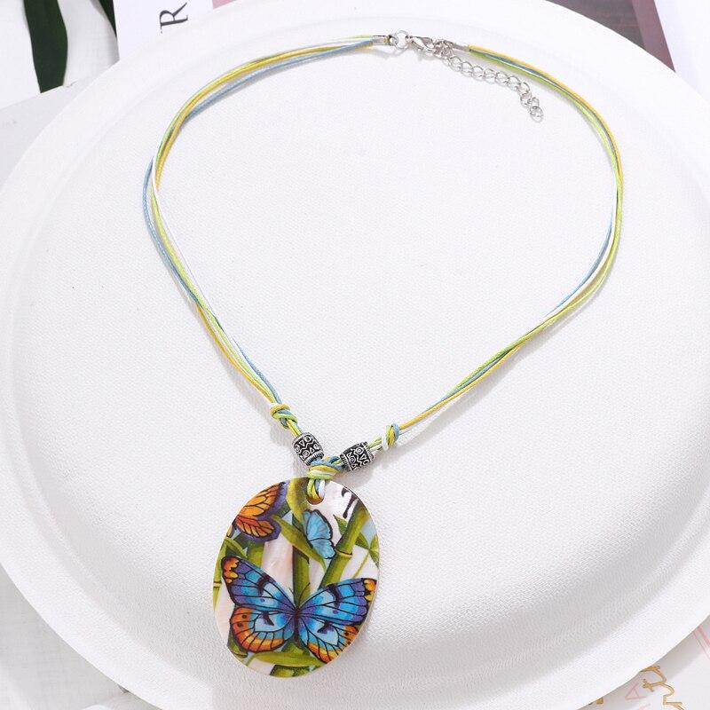 amazing price Fashion Jewelry Set Leather Chain Enamel Shell Necklace Earrings Bracelet Jewelry Sets Summer Bridal