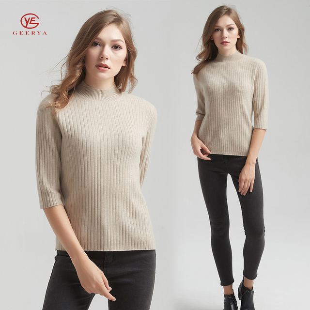 Geerya 2018 New Spring Pullovers Woman Stretch Knitted Sweater Ladies Jumpers Cashmere Women Elastic Jumper Striped Basic Tops
