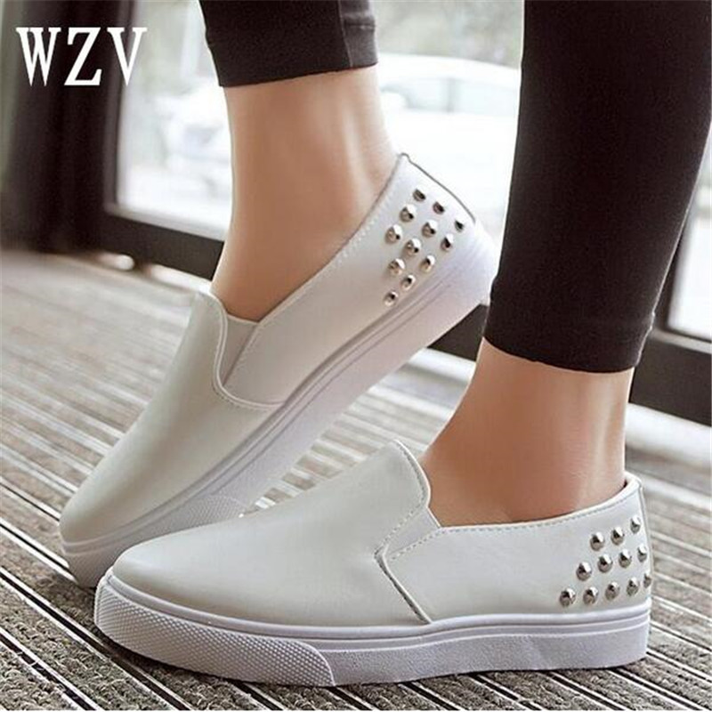 2018 Spring Women Leather Loafers Fashion ballet flats white black Shoes Woman Slip On loafers boat shoes Moccasins E031