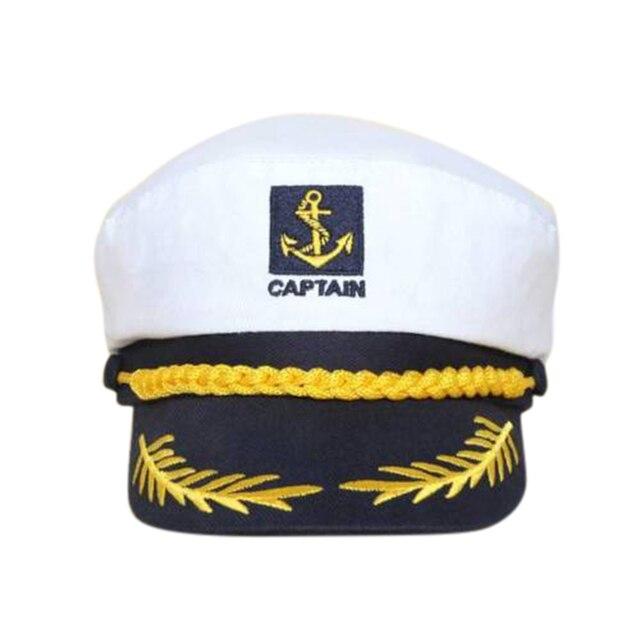 Blanco vintage marinero gorra capitán de yate Marina capitán marinero barco  Militar náutico del casquillo del f765d31fb34