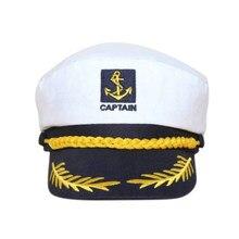 White vintage Sailor Hat Cap Yacht Captain Navy Marine Skipper Ship Sailor  Military Nautical Hat Cap eda4694f0227