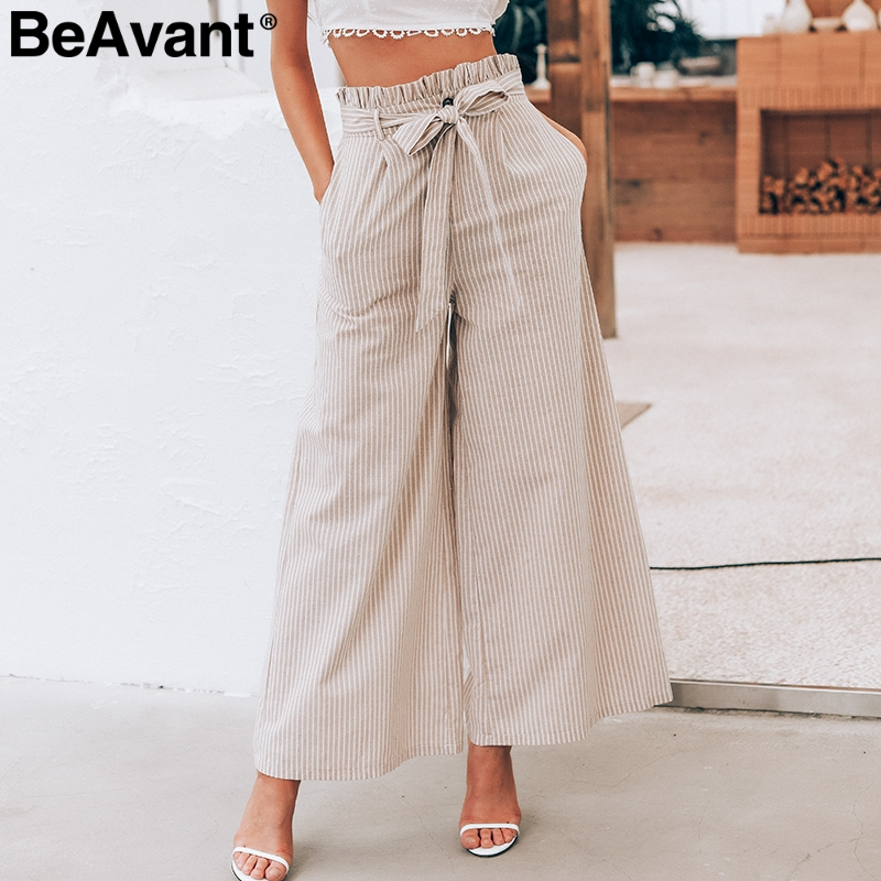 BeAvant Cotton linen high waist casual   pants   women Bow sash summer   wide     leg     pants   female Pocket office ladies trousers bottoms