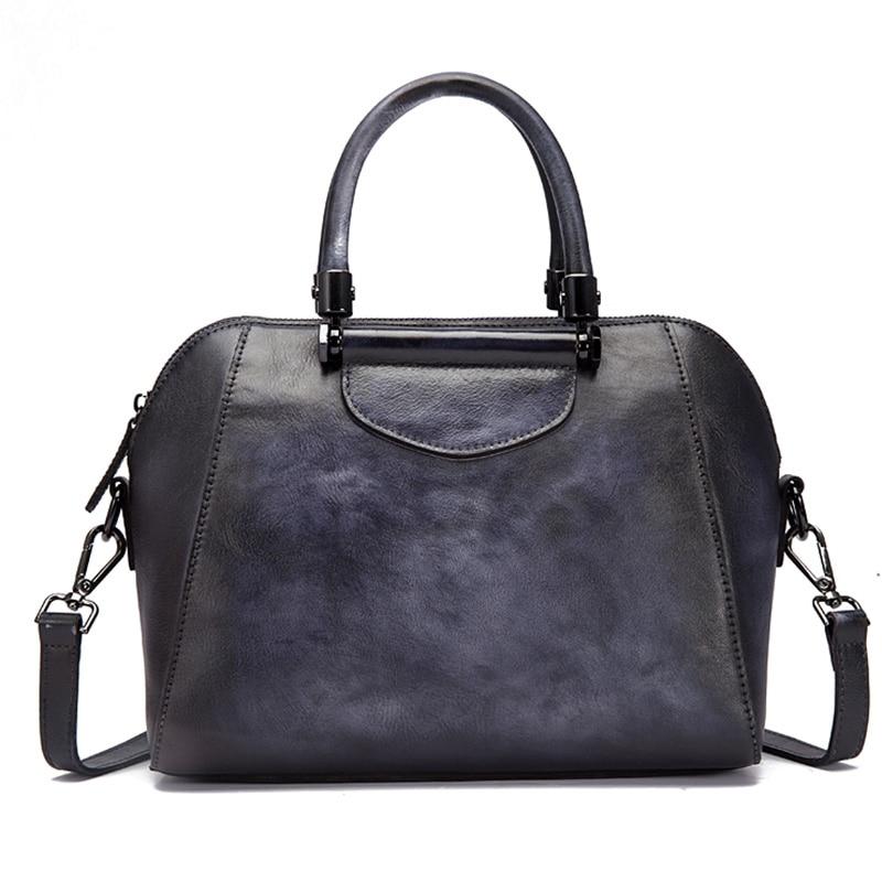 Women Messenger Shoulder Bags Pillow Handbag Genuine Leather Brush Color Vintage Female Tote Purse Cross Body Top Handle Bag