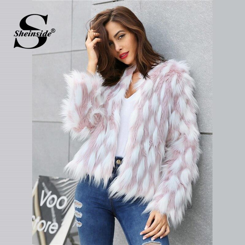 Sheinside Elegant Women Colorblock Faux Fur Crop Teddy Coat 2018 New Autumn Winter Workwear Casual Office