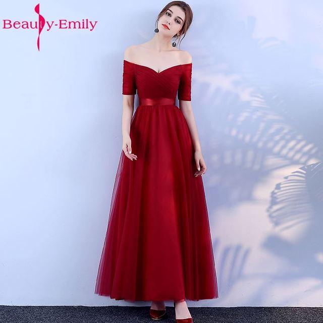 יופי-אמילי ארוך בורגונדי זול שושבינה שמלות 2019 אונליין Off כתף חצי שרוול Vestido דה dama de honra