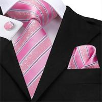 SN-3181 Hi-Tie Men Tie Silk Necktie Striped Pink Ties for Men High Quality New Fashion Men's Business Party Wedding Men's Ties