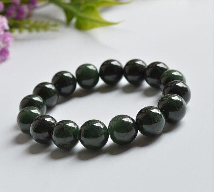 Natural Grade A  Oil-Green Jadeite 13mm Bead Bracelet Good LuckNatural Grade A  Oil-Green Jadeite 13mm Bead Bracelet Good Luck
