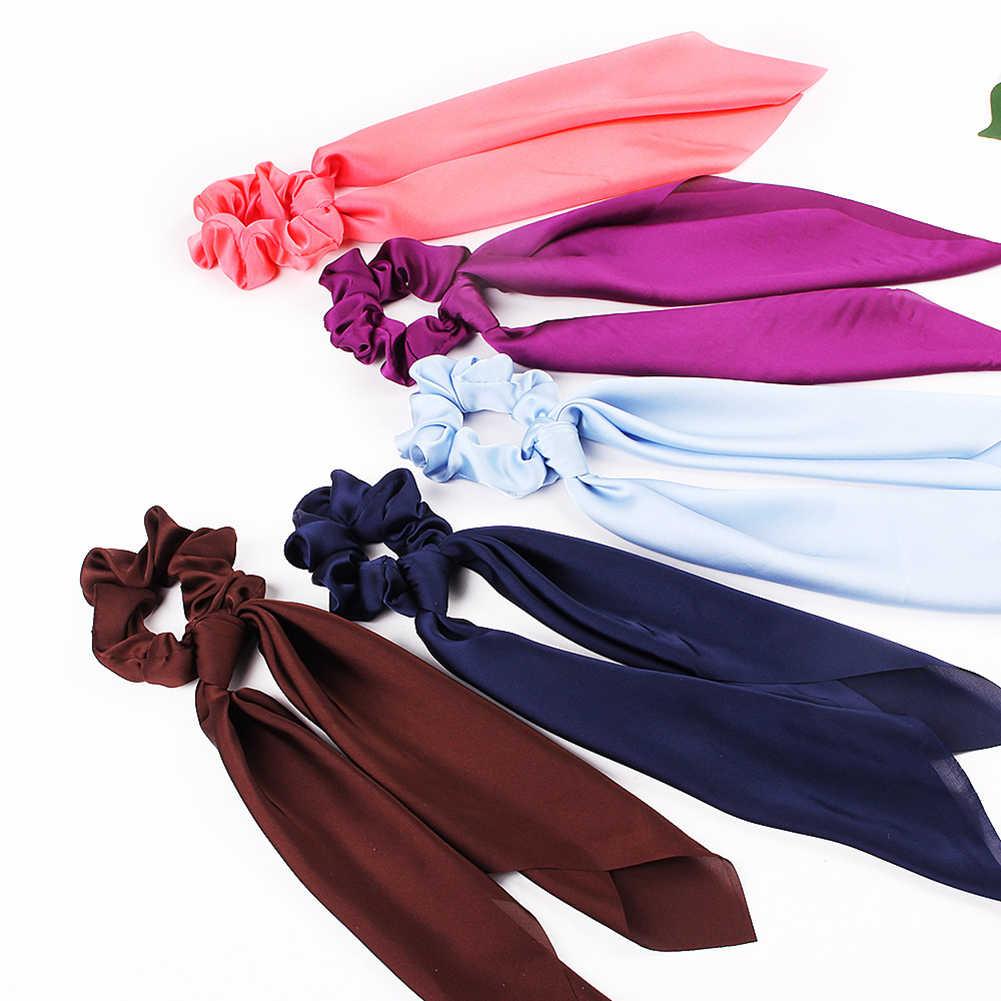 סאטן פרח הדפסת סרט גומיית נשים אביב מתוק שיער אביזרי חדש בנות שיער להקות קשת DIY סרט אלסטי שיער להקות