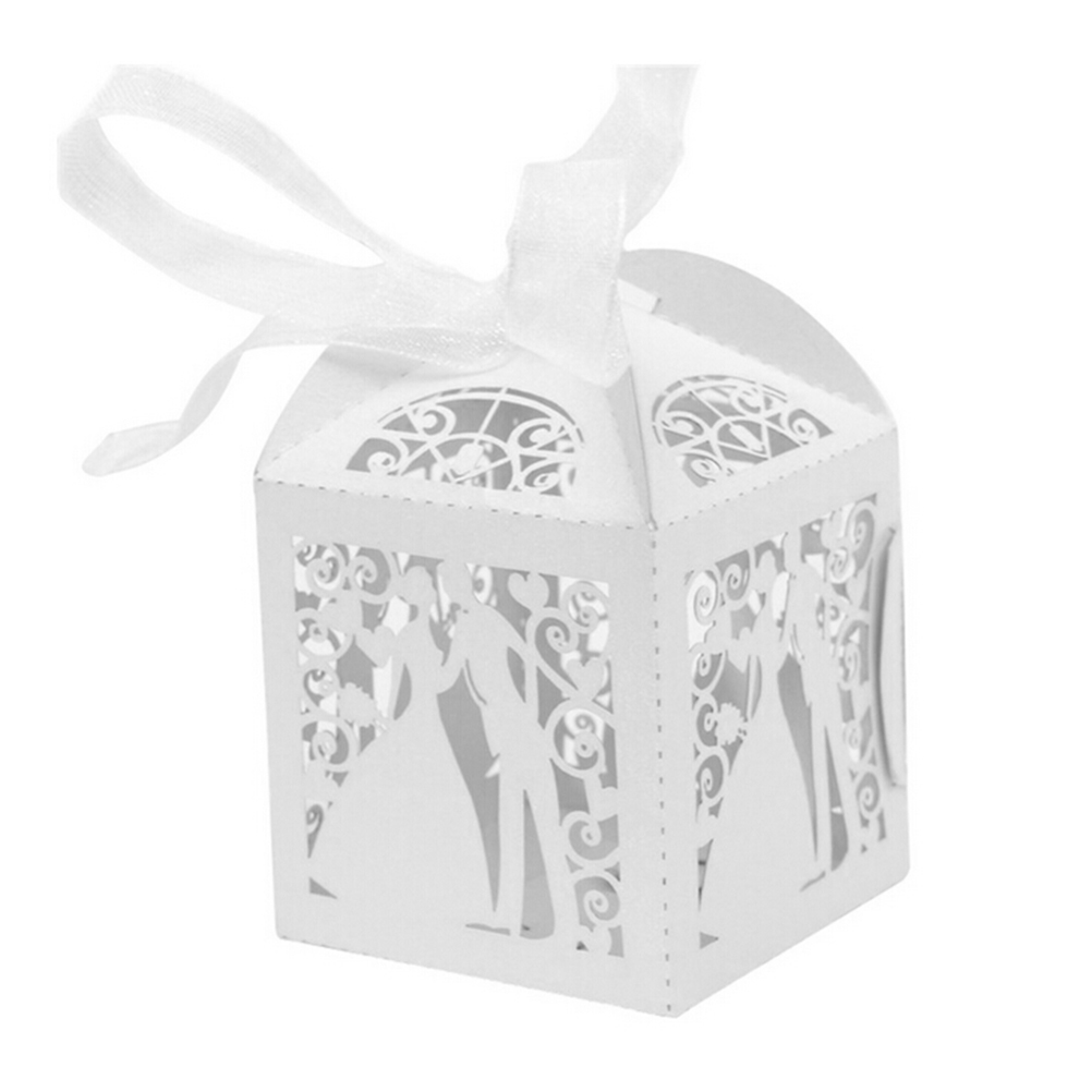10 PCS laser cut candy box bride and groom wedding favor box party ...