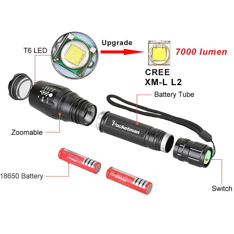 LED Flashlights Torch 7000LM XM-L2 zoomable led torch For 2x18650 batteries aluminum bicycle flashlight light tactical