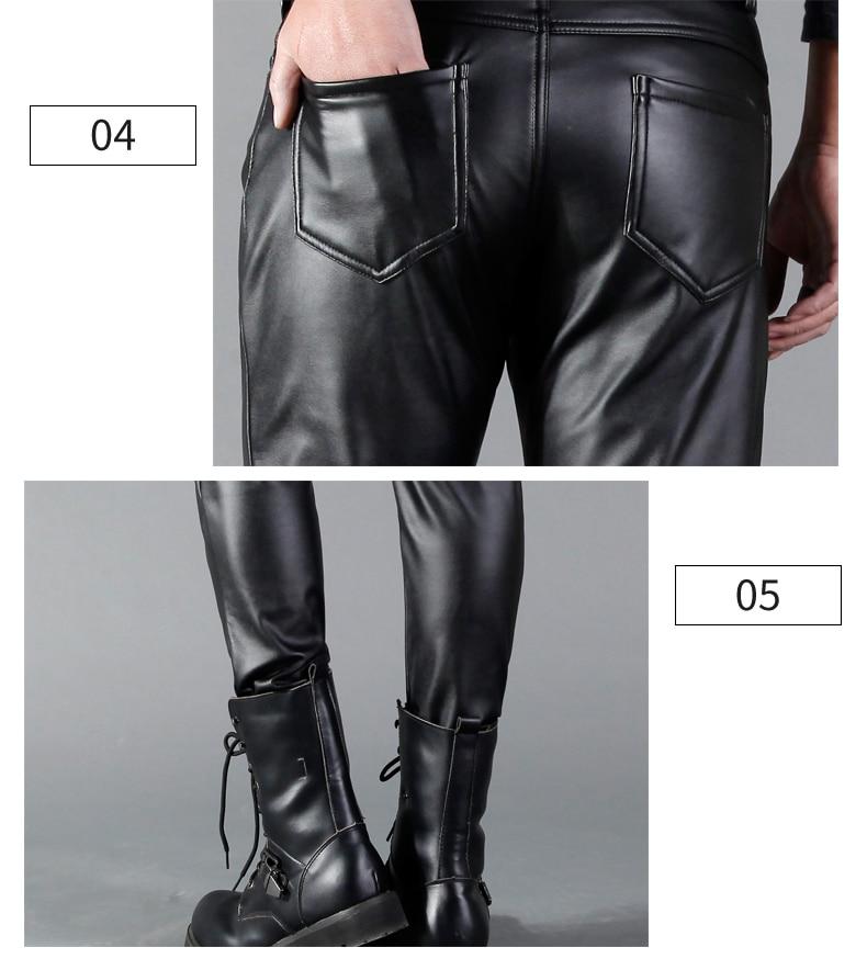 HTB1QaeWgA7mBKNjSZFyq6zydFXaQ Thoshine Brand Man Leather Pants Spring And Summer Fashion Men Slim PU Leather Trousers High Elastic Man Motorcycle Pants Street