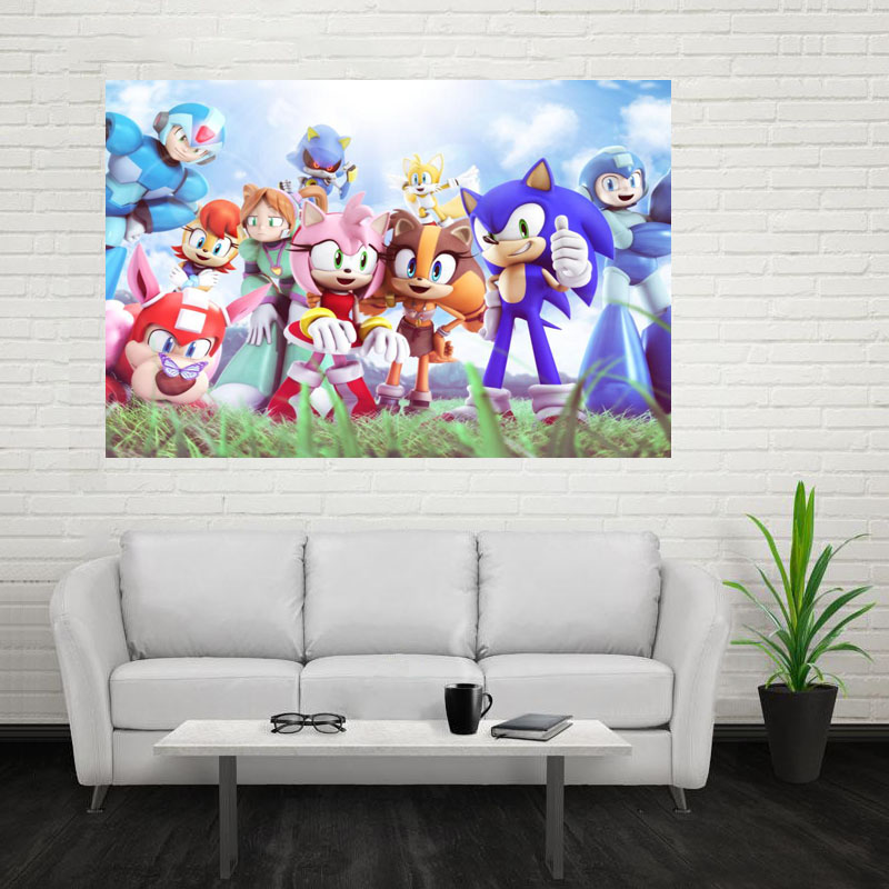 Nice Sonic The Hedgehog Cartoon Poster Custom Canvas Poster Art Home  Decoration Cloth Fabric Wall Poster