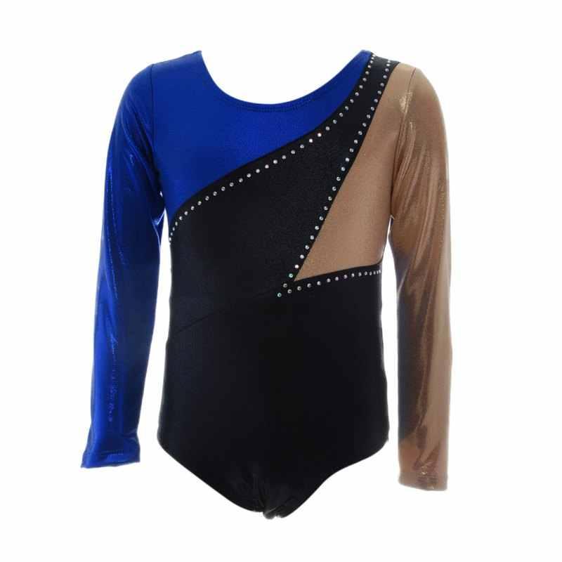 Детские модели для девочек, высококачественные костюмы с длинными рукавами, яркие цвета, украшенные стразами, одежда для занятий балетом