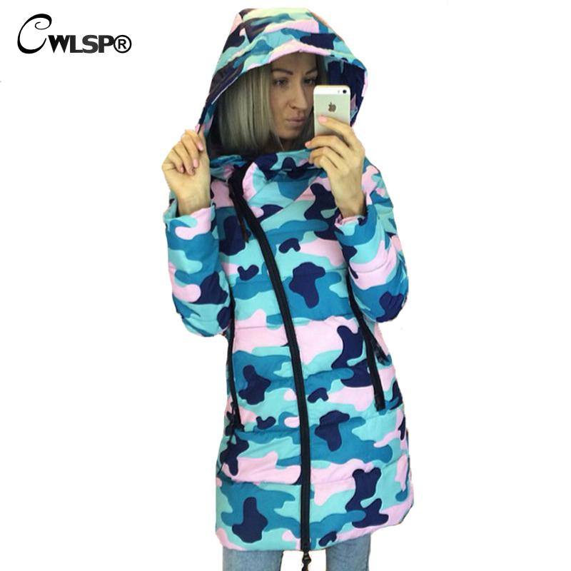 ФОТО CWLSP Winter Camouflage Star Printed Warm Hooded Coat Womens  Oblique Zipper Cotton Jacket Casual Padded Overcoat QZ1790