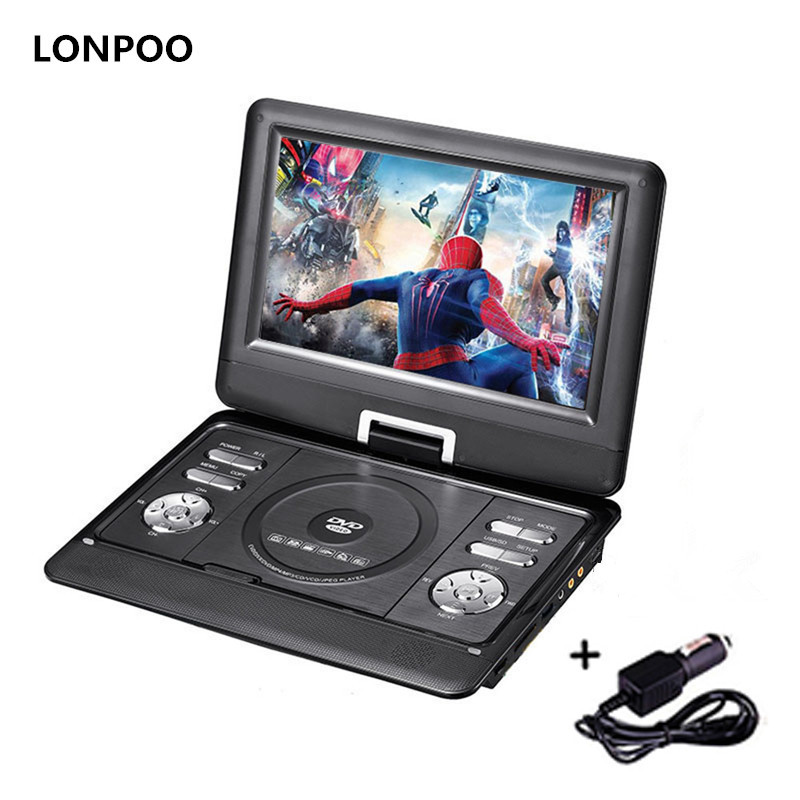 LONPOO DVD Player Portátil 10.1 polegada Giratória DVD Player DIVX USB TV Portátil Portatil DVD Player TV Carregador de Carro RCA com Bateria